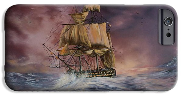 Best Sellers -  - Turbulent Skies iPhone Cases - H.M.S Victory iPhone Case by Jean Walker