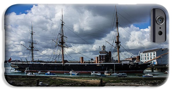 Warship iPhone Cases - HMS Warrior Portsmouth Historic Docks iPhone Case by Martin Newman