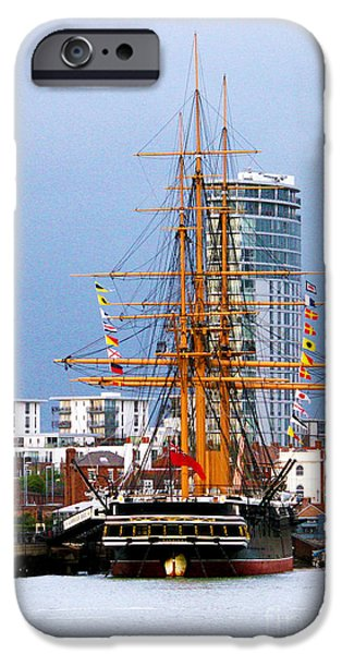 HMS Warrior Portsmouth iPhone Case by Terri  Waters