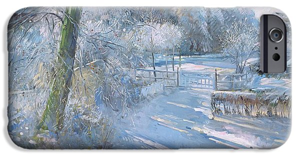 Winter iPhone Cases - Hoar Frost Morning, 1996 Oil On Canvas iPhone Case by Timothy Easton