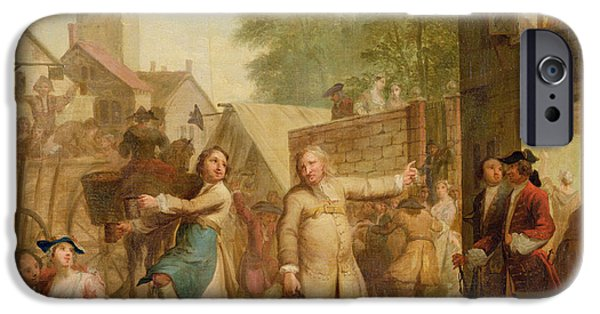 Pub iPhone Cases - Hob Continues Dancing In Spite Of His Father, C.1726 Oil On Canvas iPhone Case by John Laguerre