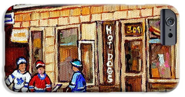 Hockey Paintings iPhone Cases - Hockey And Hotdogs At The Greenspot Diner Montreal Hockey Art Paintings Winter City Scenes iPhone Case by Carole Spandau