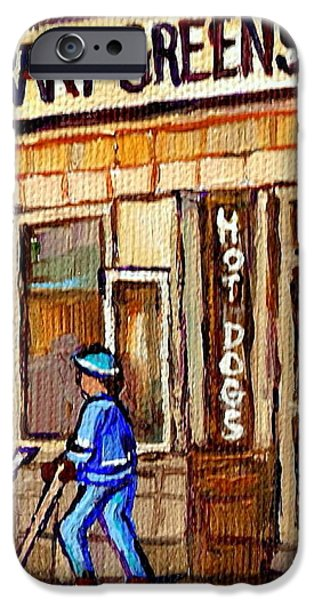 HOCKEY AND HOTDOGS AT THE GREENSPOT DINER MONTREAL HOCKEY ART PAINTINGS WINTER CITY SCENES iPhone Case by CAROLE SPANDAU