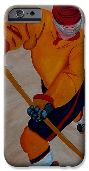 Hockey Paintings iPhone Cases - Hockey iPhone Case by Anthony Dunphy
