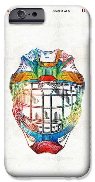 Gear Drawings iPhone Cases - Hockey Art - Goalie Mask Patent - Sharon Cummings iPhone Case by Sharon Cummings
