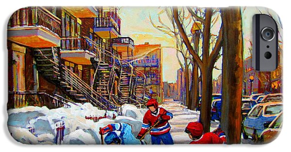 Hockey Scenes iPhone Cases - Hockey Art - Paintings Of Verdun- Montreal Street Scenes In Winter iPhone Case by Carole Spandau