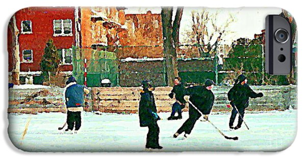 Hockey Paintings iPhone Cases - Hockey Art Shimmy Game Local Rink Montreal Paintings Winter Street Scene Verdun Art Carole Spandau iPhone Case by Carole Spandau
