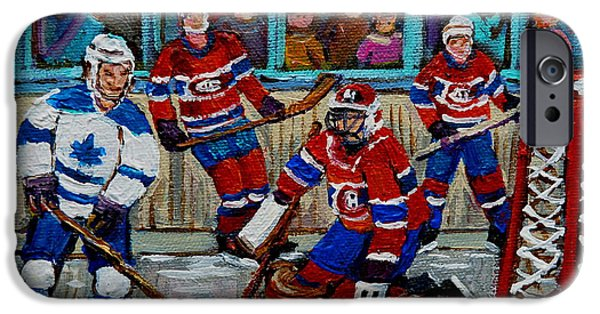 Afterschool Hockey Montreal Paintings iPhone Cases - Hockey Art Vintage Game Montreal Forum iPhone Case by Carole Spandau