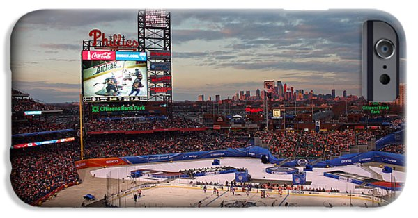 Banks iPhone Cases - Hockey at the Ballpark iPhone Case by David Rucker