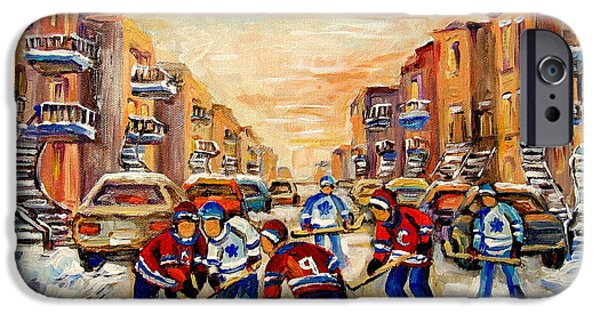 Afterschool Hockey Montreal Paintings iPhone Cases - Hockey Daze iPhone Case by Carole Spandau