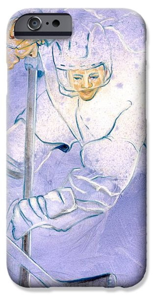 Hockey Paintings iPhone Cases - Hockey drama iPhone Case by Rosemary Hayes