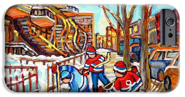 Hockey Paintings iPhone Cases - Hockey Game Near Montreal Staircases Winter Scenes Paintings Carole Spandau iPhone Case by Carole Spandau
