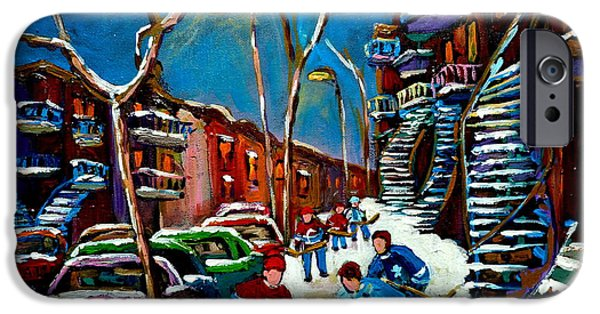 Hockey Paintings iPhone Cases - Hockey Game On De Bullion Montreal City Scene iPhone Case by Carole Spandau