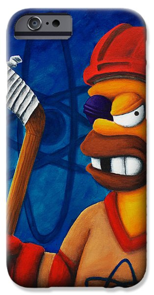 Hockey Paintings iPhone Cases - Hockey Homer iPhone Case by Marlon Huynh