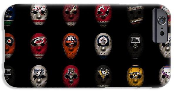 Hockey Photographs iPhone Cases - Hockey Jersey Goalie Masks iPhone Case by Joe Hamilton