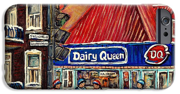 Hockey Paintings iPhone Cases - Hockey Near The Ice Cream Shop In Verdun Montreal Paintings By Carole Spandau iPhone Case by Carole Spandau