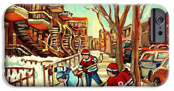 Plateau Montreal Paintings iPhone Cases - Hockey Paintings Verdun Streets And Staircases  Winter Scenes Montreal City Scene Specialist   iPhone Case by Carole Spandau