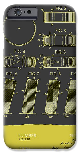 Hockey Game iPhone Cases - Hockey Puck Patent From 1940 - Gray Yellow iPhone Case by Aged Pixel