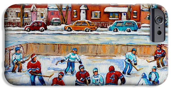 Hockey Scenes iPhone Cases - Hockey Rink At Van Horne Montreal iPhone Case by Carole Spandau