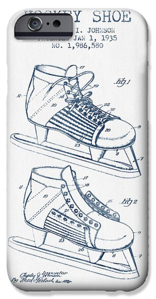 Hockey Game iPhone Cases - Hockey Shoe Patent Drawing From 1935- Blue Ink iPhone Case by Aged Pixel