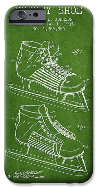 Hockey Game iPhone Cases - Hockey Shoe Patent Drawing From 1935 - Green iPhone Case by Aged Pixel