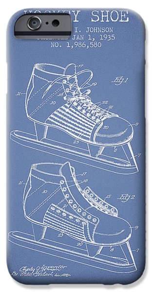 Hockey Game iPhone Cases - Hockey Shoe Patent Drawing From 1935 - Light Blue iPhone Case by Aged Pixel
