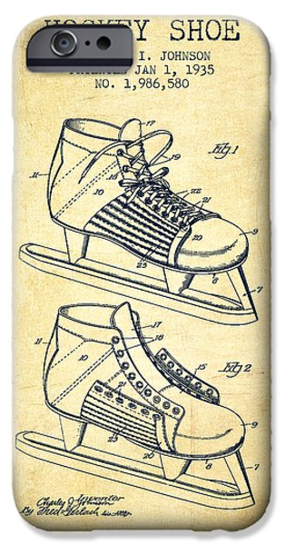 Hockey Game iPhone Cases - Hockey Shoe Patent Drawing From 1935 - Vintage iPhone Case by Aged Pixel