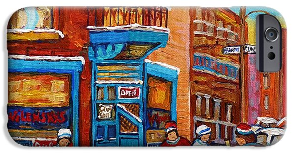 Afterschool Hockey Montreal Paintings iPhone Cases - Hockey Stars At Wilenskys Diner Street Hockey Game Paintings Of Montreal Winter  Carole Spandau iPhone Case by Carole Spandau