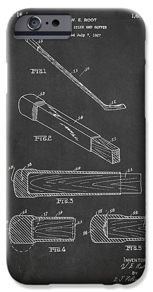 Hockey Game iPhone Cases - Hockey Stick and Buffer Patent Drawing From 1927 iPhone Case by Aged Pixel