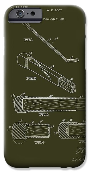 Hockey Drawings iPhone Cases - Hockey Stick End Buffer Patent 1928 iPhone Case by Mountain Dreams