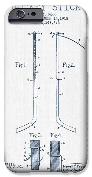 Hockey Game iPhone Cases - Hockey Stick patent Drawing from 1915 - Blue Ink iPhone Case by Aged Pixel