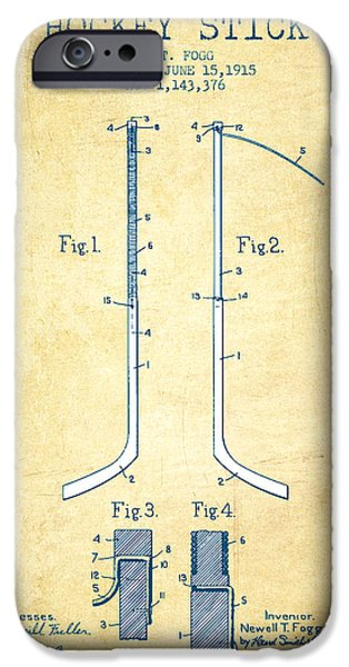 Antiques iPhone Cases - Hockey Stick patent Drawing from 1915 - Vintage Paper iPhone Case by Aged Pixel