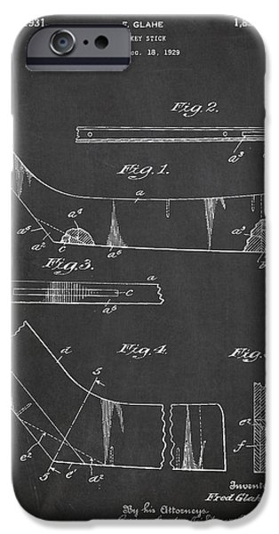 Hockey Game iPhone Cases - Hockey Stick Patent Drawing From 1929 iPhone Case by Aged Pixel