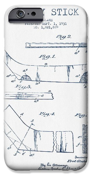 Hockey Game iPhone Cases - Hockey Stick Patent Drawing From 1931 - Blue Ink iPhone Case by Aged Pixel