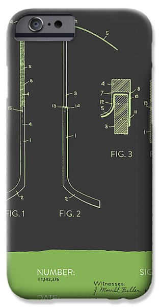 Hockey Game iPhone Cases - Hockey Stick Patent From 1915 - Gray Green iPhone Case by Aged Pixel