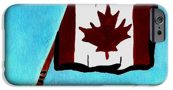 Hockey Paintings iPhone Cases - Hockey stick with Canadian Flag iPhone Case by Gail Matthews