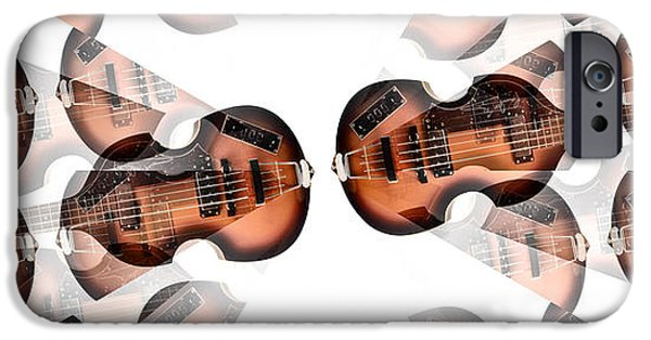 Beatles iPhone Cases - Hofner Bass Abstract iPhone Case by Bill Cannon