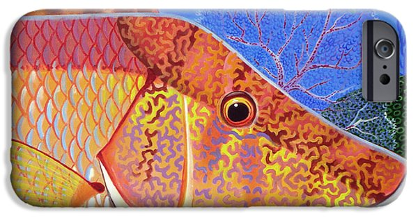 Triggerfish Paintings iPhone Cases - Hog Face iPhone Case by Lina Tricocci