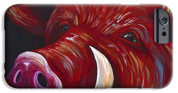 Arkansas iPhone Cases - Hog Fan iPhone Case by Shawna Elliott