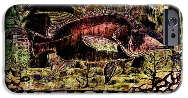 Sports Pyrography iPhone Cases - Hogfish Bar iPhone Case by Tisha McGee