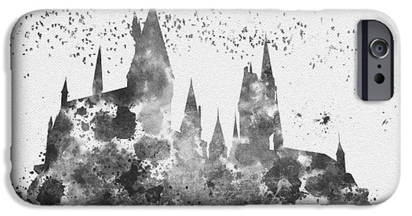 Hogwarts iPhone Cases - Hogwarts Black and White iPhone Case by Rebecca Jenkins