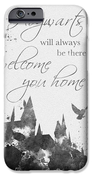 Hogwarts iPhone Cases - Hogwarts Quote Black and White iPhone Case by Rebecca Jenkins