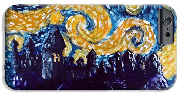 Sticker iPhone Cases - Hogwarts Starry Night iPhone Case by Jera Sky