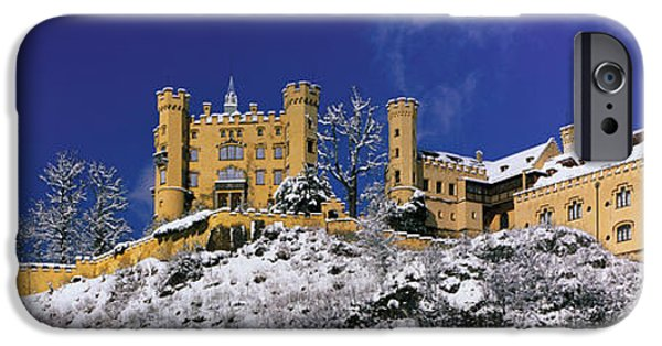Snowy Day iPhone Cases - Hohenschwangau Castle Schloss iPhone Case by Panoramic Images