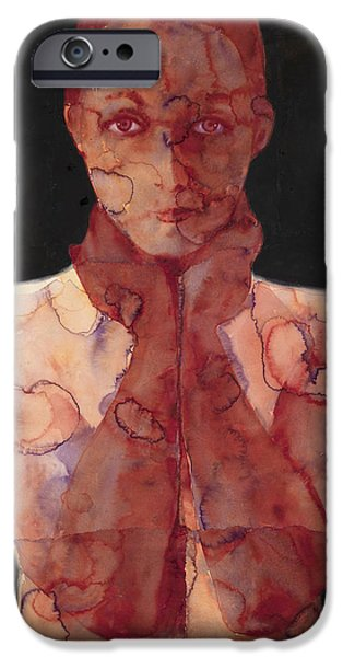 Nudes Paintings iPhone Cases - Hold In Two iPhone Case by Graham Dean