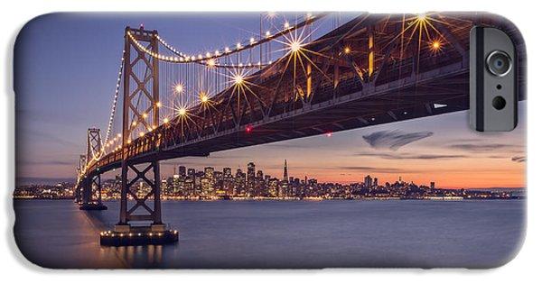 Bay Bridge Digital iPhone Cases - Hold onto the night iPhone Case by Eduard Moldoveanu