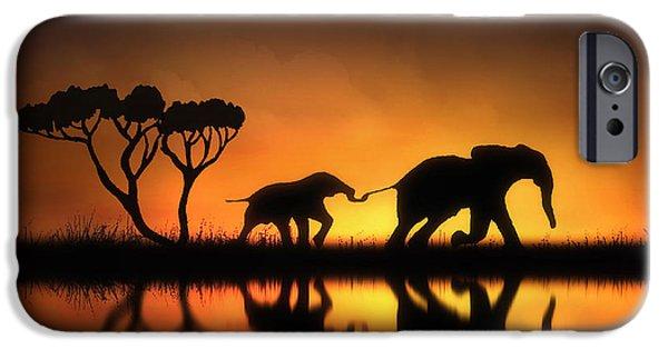 Elephants Digital iPhone Cases - Holding On iPhone Case by Jennifer Woodward