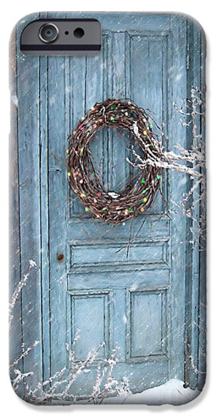 House Digital iPhone Cases - Barn door and holiday wreath/Digital Painting iPhone Case by Sandra Cunningham
