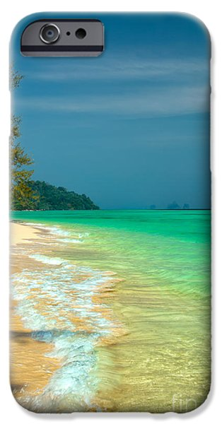 Coastline Digital Art iPhone Cases - Holiday Destination iPhone Case by Adrian Evans