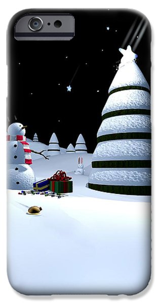 Holiday Digital Art iPhone Cases - Holiday Falling Star iPhone Case by Cynthia Decker